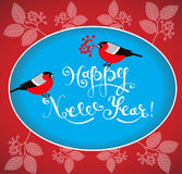 Ευχετήρια κάρτα καλής χρονιάς με τα bullfinches και τη handdrawn εγγραφή Στοκ Εικόνα