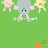 Ευχετήρια κάρτα κουνελιών Στοκ φωτογραφία με δικαίωμα ελεύθερης χρήσης