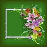 Ευχετήρια κάρτα κρίνων ανθοδεσμών για την ημέρα της μητέρας, γενέθλια, γάμος Στοκ εικόνα με δικαίωμα ελεύθερης χρήσης