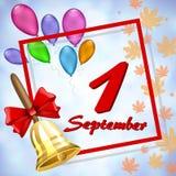 Ευχετήρια κάρτα μέχρι την 1η Σεπτεμβρίου διανυσματική απεικόνιση