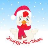 Ευχετήρια κάρτα με έναν κόκκορα σε ένα καπέλο Άγιου Βασίλη και ένα μαντίλι Επιγραφή καλή χρονιά χεριών ελεύθερη απεικόνιση δικαιώματος