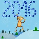 Ευχετήρια κάρτα με έναν πίθηκο Στοκ Εικόνες
