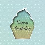 Ευχετήρια κάρτα με γενέθλια cupcake Ελεύθερη απεικόνιση δικαιώματος