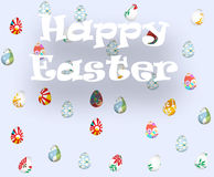 Ευχετήρια κάρτα με ευτυχές Πάσχα και βροχή με τα αυγά Πάσχας Στοκ Εικόνες