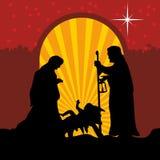 Ευχετήρια κάρτα με μια ιστορία Χριστουγέννων Mary και Joseph με το μωρό Ιησούς στη Βηθλεέμ διανυσματική απεικόνιση