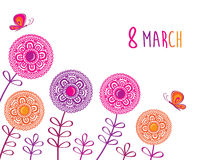 Ευχετήρια κάρτα με στις 8 Μαρτίου Στοκ Εικόνες