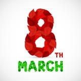 Ευχετήρια κάρτα με στις 8 Μαρτίου ελεύθερη απεικόνιση δικαιώματος