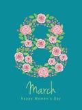 Ευχετήρια κάρτα με στις 8 Μαρτίου Στοκ φωτογραφία με δικαίωμα ελεύθερης χρήσης