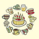 Ευχετήρια κάρτα με συρμένα φλυτζάνια κέικ και τσαγιού doodle τα χέρι Διανυσματική απεικόνιση