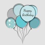 Ευχετήρια κάρτα με τα γενέθλια μπαλονιών Ελεύθερη απεικόνιση δικαιώματος