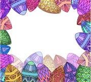 Ευχετήρια κάρτα με τα εορταστικά αυγά colorfull doodle Στοκ Φωτογραφία