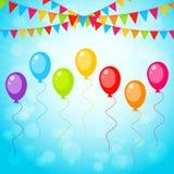 Ευχετήρια κάρτα με τα ζωηρόχρωμα μπαλόνια Στοκ εικόνες με δικαίωμα ελεύθερης χρήσης