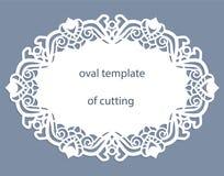 Ευχετήρια κάρτα με τα δικτυωτά ωοειδή σύνορα, doily εγγράφου κάτω από το κέικ, πρότυπο για την κοπή, γαμήλια πρόσκληση, διακοσμητ Στοκ εικόνες με δικαίωμα ελεύθερης χρήσης