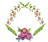 Ευχετήρια κάρτα με τα λουλούδια ανθοδεσμών για το γάμο, τα γενέθλια και άλλες διακοπές floral γωνία Στοκ Εικόνες