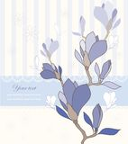 Ευχετήρια κάρτα με τα λουλούδια magnolia διανυσματική απεικόνιση