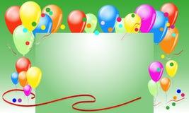 Ευχετήρια κάρτα με τα μπαλόνια και τις κορδέλλες Στοκ φωτογραφία με δικαίωμα ελεύθερης χρήσης