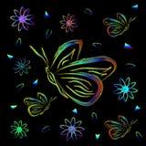 Ευχετήρια κάρτα με τα λουλούδια και τις πεταλούδες στο νέο Στοκ Εικόνα