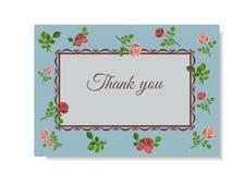 Ευχετήρια κάρτα με τα ρόδινα τριαντάφυλλα στο μπλε υπόβαθρο, που διακοσμείται με το σχέδιο και το κείμενο απεικόνιση αποθεμάτων