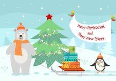 Ευχετήρια κάρτα με τα Χριστούγεννα και το νέο έτος ελεύθερη απεικόνιση δικαιώματος