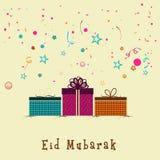Ευχετήρια κάρτα με τα δώρα για τον εορτασμό Eid Μουμπάρακ Στοκ εικόνες με δικαίωμα ελεύθερης χρήσης
