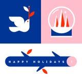 Ευχετήρια κάρτα με την άσπρη σφαίρα περιστεριών και χιονιού με το χριστουγεννιάτικο δέντρο Στοκ Εικόνες