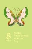 Ευχετήρια κάρτα με την ημέρα της διεθνούς γυναίκας Στοκ Εικόνες