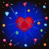Ευχετήρια κάρτα με την καρδιά και το διαμάντι Στοκ Εικόνες