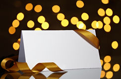 Ευχετήρια κάρτα με την κορδέλλα Στοκ Εικόνες