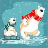 Ευχετήρια κάρτα με την οικογένεια των αρκούδων ελεύθερη απεικόνιση δικαιώματος