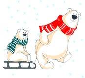 Ευχετήρια κάρτα με την οικογένεια των αρκούδων στοκ φωτογραφία