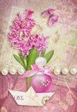 Ευχετήρια κάρτα με τη βάρκα πεταλούδων, υάκινθων, αρώματος και εγγράφου διανυσματική απεικόνιση
