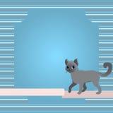 Ευχετήρια κάρτα με τη γάτα και την κορδέλλα Στοκ Φωτογραφίες