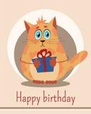 Ευχετήρια κάρτα με τη γάτα Στοκ εικόνες με δικαίωμα ελεύθερης χρήσης