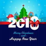 Ευχετήρια κάρτα με τη Χαρούμενα Χριστούγεννα και μια καλή χρονιά Εύθυμο έτος του 2018 Στοκ φωτογραφίες με δικαίωμα ελεύθερης χρήσης