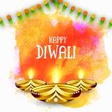 Ευχετήρια κάρτα με τις ελαιολυχνίες για ευτυχές Diwali Στοκ Εικόνες