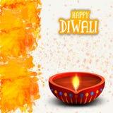 Ευχετήρια κάρτα με τις ελαιολυχνίες για ευτυχές Diwali Στοκ Φωτογραφία