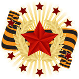 ευχετήρια κάρτα με τα κόκκινα αστέρια Στοκ Φωτογραφίες