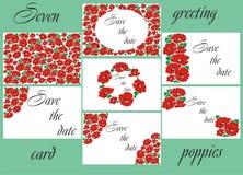 Ευχετήρια κάρτα με τις παπαρούνες Κάρτα στις παπαρούνες Κάρτα γαμήλιας πρόσκλησης με τις παπαρούνες Στοκ εικόνες με δικαίωμα ελεύθερης χρήσης