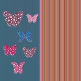 Ευχετήρια κάρτα με τις πεταλούδες Στοκ φωτογραφία με δικαίωμα ελεύθερης χρήσης