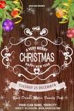 Ευχετήρια κάρτα με τις σφαίρες του νέου έτους, τα χρυσά ελάφια, τα φωτεινά αστέρια, τη διακόσμηση, χρυσά snowflakes και το χρυσό  απεικόνιση αποθεμάτων