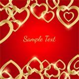 Ευχετήρια κάρτα με τις χρυσές καρδιές σε ένα φωτεινό κόκκινο υπόβαθρο ελεύθερη απεικόνιση δικαιώματος