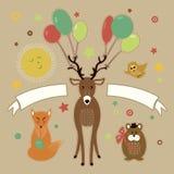 Ευχετήρια κάρτα με τους δασικούς φίλους Στοκ Εικόνες