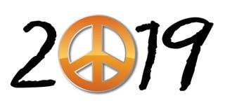 Ευχετήρια κάρτα 2019 με το έμβλημα ειρήνης και αγάπης απεικόνιση αποθεμάτων