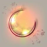 Ευχετήρια κάρτα με το ημισεληνοειδές φεγγάρι για τα ισλαμικά φεστιβάλ Στοκ Εικόνες