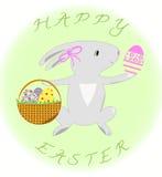 Ευχετήρια κάρτα με το κουνέλι και τα αυγά ευτυχές Πάσχα διανυσματική απεικόνιση