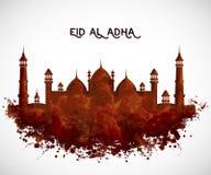 Ευχετήρια κάρτα με το κτήριο μουσουλμανικών τεμενών στο ύφος watercolor Έννοια σχεδίου για το παραδοσιακό μουσουλμανικό adha Al φ απεικόνιση αποθεμάτων