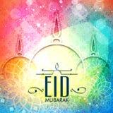 Ευχετήρια κάρτα με το μουσουλμανικό τέμενος για Eid Μουμπάρακ Στοκ Εικόνα