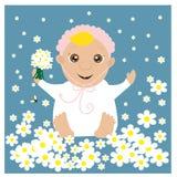 Ευχετήρια κάρτα με το μωρό στα λουλούδια Στοκ Φωτογραφίες