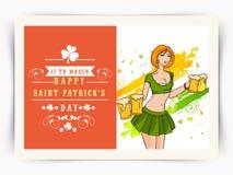 Ευχετήρια κάρτα με το νέο κορίτσι για τον εορτασμό ημέρας του ST Πάτρικ Στοκ εικόνες με δικαίωμα ελεύθερης χρήσης