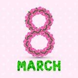 Ευχετήρια κάρτα με το ροδαλό στις 8 Μαρτίου διανυσματική απεικόνιση